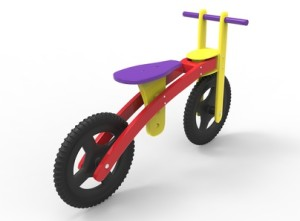 3d illustration of children bicycle. icon for game web. white background isolated. colored and cute.