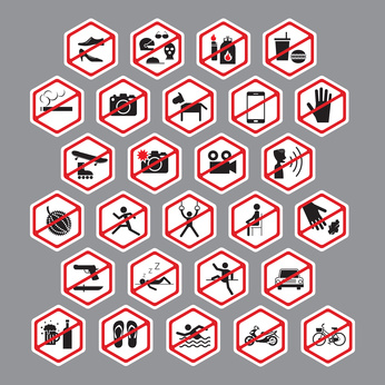 Stop, No, Forbidden, Backslash, Hexagon Form Symbol Set