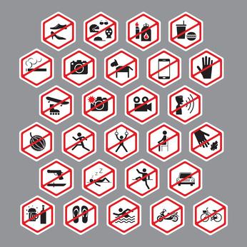 Stop, No, Forbidden, Backslash, Hexagon Form Symbol Set